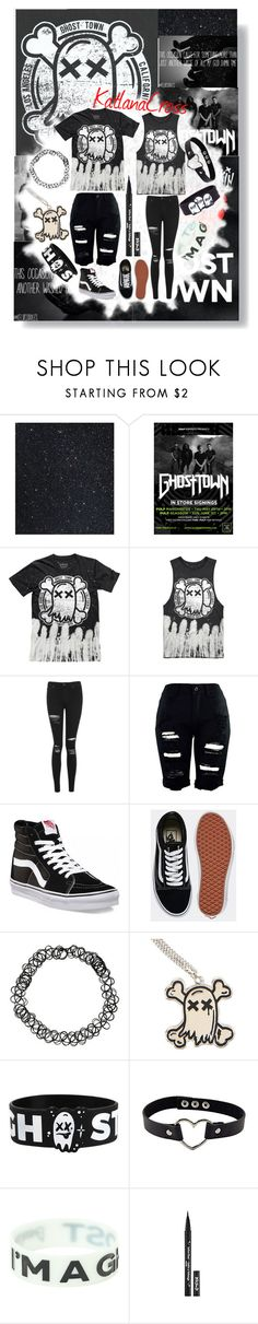 """""""Quick Ghost Town set bc I'm bored and I love my boys"""" by katlanacross ❤ liked on Polyvore featuring Topshop, Vans, Hot Topic and Kat Von D"""