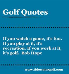 If you watch a game, it's fun... #quotes #golfquotes #golf