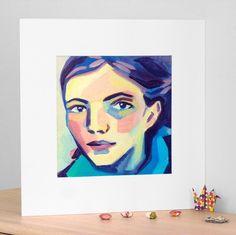 Portrait au foulard bleu, peinture acrylique et pigments, impression en édition limitée, tirage pigmentaire Beaux Arts (Fine Art)
