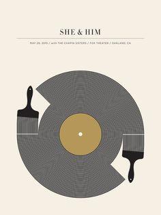 She & Him Poster designed by Jason Munn