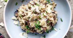Einfaches Pilz Risotto mit Champignons und Frühlingszwiebeln ✓ Ein cremiges und gesundes Reis Gericht mit einfachem Rezept ☆ Jetzt nachkochen!