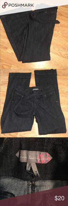 Denim high waisted dark wash trouser 7 excellent condition Waist is 16in rise is 9in 34in inseam opening at bottom of leg is 10in 73%cotton 25%polyester 2%spandex Boom Boom Jeans Pants Trousers