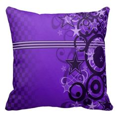 Retro Circles & Stars Purple Throw Pillow | Available in Purple, Pink, & Blue