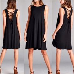 NEW: Soft Lace-Up Jersey Shift Dress * Brand New ~ with tags Retail  * Made in Los Angeles   * Color: Black  * {95% Rayon /5% Spandex} / Loose Fitting * Comfortable and soft Jersey fabric. | Not sheer. * Perfect for Festival Weather  (modeled by me in last photo).    Xoxo~ Sara Elizabeth April Spirit Dresses Mini