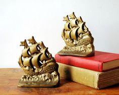 Cast Iron Bookends Galleon Sailing Ship Vintage by CalloohCallay, $48.00