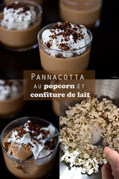 Pannacotta au pop-corn et confiture de lait (sans oeufs ni gluten) Sin Gluten, Panna Cotta, Pop Corn, Cereal, Breakfast, Desserts, Food, Light Dessert Recipes, Sweets