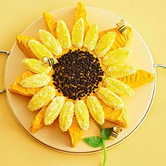 Ladyfingers in a simple pattern make this sunny cake a cheerful addition to your Easter celebration: http://www.bhg.com/holidays/easter/recipes/fun-to-make-easter-treats/?socsrc=bhgpin033114sunflowercake&page=16