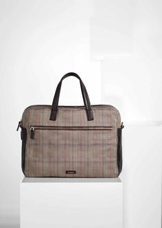 Paul Smith men's taupe Prince of Wales check 'Barnaby' business folio