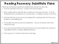 Reading Recovery Sub Plans