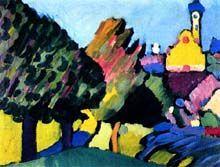 Wassily Kandinsky - Murnau, Autumn landscape with church, 1909 Art Painting, History Painting, Abstract Landscape, Abstract Painting, Painting, Wassily Kandinsky, Kandinsky Art, Art, Abstract