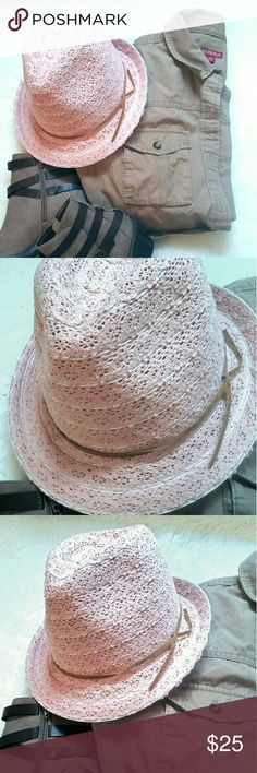 Blush Pink Feminine Fedora NWOT So sweet and girlie!  Lacy fedora with tan suede lasso band. Thin white stripes throughout.  Very lightweight and comfy! Accessories Hats