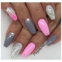 There are three kinds of fake nails which all come from the family of plastics. Acrylic nails are a liquid and powder mix. They are mixed in front of you and then they are brushed onto your nails and shaped. These nails are air dried. Gray Nails, Pink Nails, Glitter Nails, Pink Glitter, Brown Nails, Glitter Art, Pink Bling, Summer Shellac Nails, Purple And Silver Nails