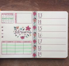 Weekly Spreads for Bullet Journals - Floral Theme Weekly Spread