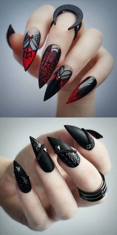 22 Wicked Long Black Nails Cool Girls Should Have a Try! - Page 5 of 6 Longer is cooler. Wickedly longer is much cooler. Long nails is always the hottest nail among the popular. And long black nails is the top 1 best color for cool girls. Goth Nails, Witchy Nails, Goth Nail Art, Skull Nails, Red Nails, Long Black Nails, Black Stiletto Nails, Black Nail Art, White Nail