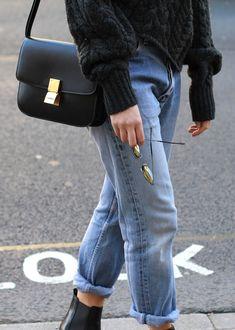 LEVIS vintage 501 jeans, ISABEL MARANT versus knit jumper, CÉLINE box bag, SAINT LAURENT chelsea boots quirky