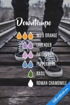 Downtempo - wild orange, lavender, patchouli, peppermint, basil and roman chamomile