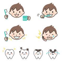 男の子の歯磨き・虫歯のイラスト