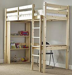 Study Bunk Bed - single work station bunkbed with table, chair and bookcase