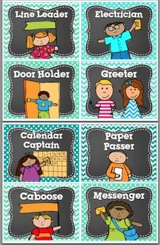 33 Classroom Job/ Helpers- in BRIGHT Polka Dot & Chalkboard ! This set has 33 different Classroom Jobs with precious clip art PLUS a HEADER and 6 blank/editable cards! 4 job cards per page. I've also included 6 EDITABLE blank job cards! First Grade Classroom, Classroom Setup, Classroom Design, Classroom Displays, Preschool Classroom, Future Classroom, In Kindergarten, Classroom Job Chart, Chevron Classroom