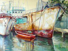 """""""Barque Rouge, Port de Fanfaron"""" Mauritius by Anne Delplace"""