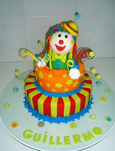 Two tier detailed clown birthday cake