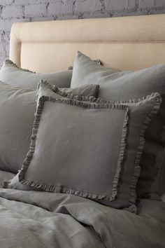 "Vintage Chic Linen Bedding Double Baby Ruffle Decorative Pillow - 18"" x 18""  by Vintage Chic Bedding on @HauteLook"