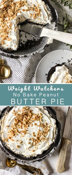 Watchers No Bake Peanut Butter Pie Weight Watchers No-Bake Peanut Butter Pie - Recipe Diaries Skip heating up the oven this Summer.Weight Watchers No-Bake Peanut Butter Pie - Recipe Diaries Skip heating up the oven this Summer. Weight Watcher Desserts, Weight Watchers Pie, Weigt Watchers, Ww Recipes, Healthy Dessert Recipes, Gourmet Recipes, Delicious Desserts, Healthy Food, Fast Recipes