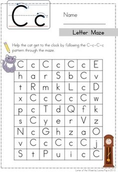 Phonics Letter of the Week Cc: C-c-C-c pattern Letter Maze. Can use dot paint, highlighters, etc. This could also be laminated and placed in a magnetic center where kids use DIY magnets (eg: pom poms) to follow the letter path through the maze.