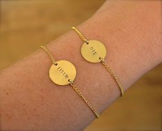 ✢ This set of bracelets is perfect for any big or little pair! The gold plated circle can be stamped with your choice of Greek Letters or