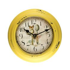 Adeco [CK0059] Antique Vintage Retro Round Yellow Decorative Iron Wall Clock- Home Decor