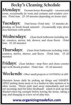 15 Minutes a day of cleaning | OrganizingMadeFun.com