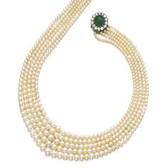 NATURAL PEARL, EMERALD AND DIAMOND NECKLACE Composed of five strands of natural pearls measuring from 2.95 to 7.95mm, the clasp set with a cabochon emerald encircled with pear-shaped, circular-cut and oval diamonds