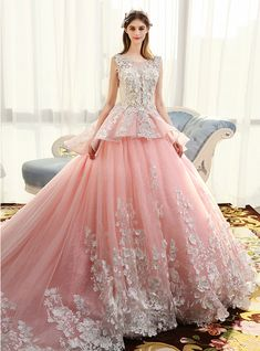 Luxury Pink Ball Gown Tulle  Applique Princese Wedding Dress