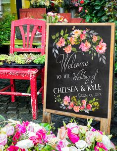 A beautiful Wedding Welcome sign print for your special day. An elegant and stylish way to welcome your guests. Modern type, with colorful flowers on faux chalkboard background and faux chalk text. Personalized with your names and wedding date.