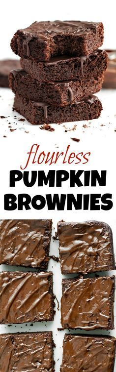 Flourless Pumpkin Brownies made in the blender with only 7 ingredients! They're grain-free, oil-free, dairy-free, and refined-sugar-free, so they make a deliciously healthy snack for when the chocolate cravings hit | runningwithspoons.com