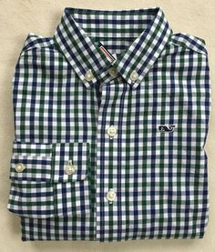 VINEYARD VINES Boys Higgins Beach Gingham Whale Shirt Button Down NWT LARGE XL