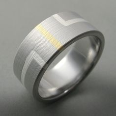 Wedding Band Art Deco Titanium Gold Silver