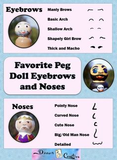 Peg Doll Faces {Printable guide and Planner Peg Doll noses and eyebrows Wood Peg Dolls, Clothespin Dolls, Clothespin Crafts, Wooden People, Clothes Pegs, Doll Clothes, Wooden Pegs, Waldorf Dolls, Doll Crafts