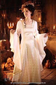 Mittelalter Hochzeitskleid Baumwolle, Elbenkleid