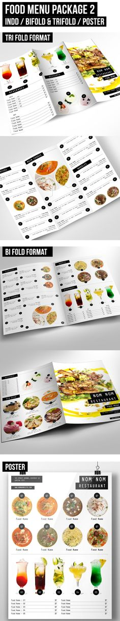 It is a food menu package for your restaurant / cafe purposes. Available in letter size in indd format with 2 kinds of format which is: tri fold and bi fold. All you need to do is just change the logo, text and images. You can easily change the colour too. If you like it and find it useful click on the link provided.
