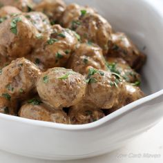 Low Carb Swedish Meatballs are great as a ketogenic appetizer or as a meal served over zoodles or cauliflower rice. This recipe is gluten-free & delicious.