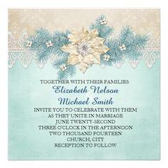Lace Gold Winter Damask Wedding Invite