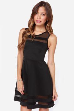 Face N Face Womens Summer Fashion Slim Sheer Mesh Sleeveless Dresses New 2016 Summer Casual Little Black Short Mini Flare Dress