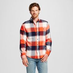 Men's Flannel Button Down Shirt Coral S - Merona, Hot Coral