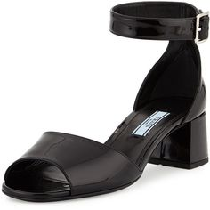 Prada Patent Mid-Heel Sandal (616 AUD) ❤ liked on Polyvore featuring shoes, sandals, nero, black patent sandals, ankle strap sandals, ankle strap heel sandals, wide sandals and black shoes