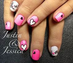 """Valentine Nail Art!  Heart..Love...&  All that Gooshy Stuff  Nails By Jeannie Jackson The Nail Station Glen Burnie MD  Check out """"like"""" Facebook Page!!  The Nail Station"""