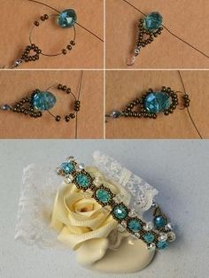 Crystal beads bracelet, how it? The tutorial will be published by LC. - Diy and craft Seed Bead Bracelets, Seed Bead Jewelry, Bead Jewellery, Seed Beads, Beaded Bracelet Patterns, Beaded Earrings, Diy Schmuck, Homemade Jewelry, Bracelet Tutorial