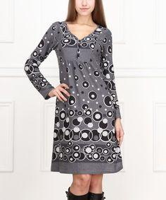 Another great find on #zulily! Gray Dot V-Neck Dress #zulilyfinds