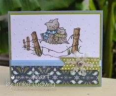 """Sweet winter card made my Imke Ludwig using a From the Heart Stamps Digital Stamp called: """"Owls on a Fence"""". >>>Shop>>> http://fromtheheartstamps.com/shop/birds-and-owls/99-owls-on-a-fence.html?search_query=owl&results=9"""