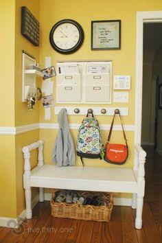 image Back To School Organization, Home Organization, Organizing Ideas, Parent Command Center, Command Centers, Command Center Kitchen, Backpack Storage, Backpack Station, Backpack Hooks